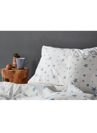 Hibboux 200x220 Star Nevresim + Yastık Kılıfı - W.Blue Renkli
